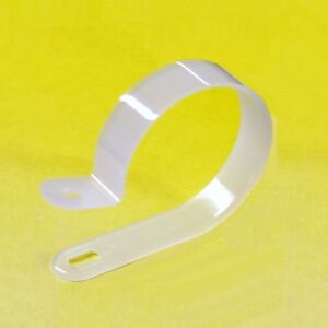 White Plastic Nylon P Clips For Mounting Cables Wires Range of Sizes Quantities