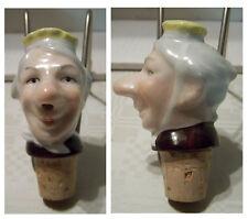 Schnapsausgießer Porzellan Kopf Ausgießer alte Dame mit gelber Kopfbedeckung