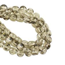 1 Strang ca.42Stk Glasperlen Beads 7x8mm Rund transparent hellbraun Glas Schmuck