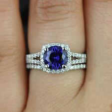 2.50 Carat Sapphire & Diamond 14K Real White Gold Halo Engagement Ring Set