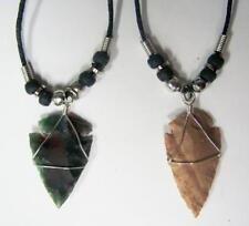 2 REAL STONE WIRE WRAPPED ARROWHEAD BLACK ROPE & SILVER BEADS NECKLACE western