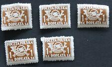 5 x Polen Polska 1 Zl Doplata unbenutzt ungestempelt