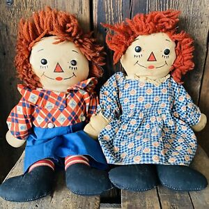 Early Raggedy Ann and Andy Doll Awake Asleep Georgene Novelties Gruelle Antique