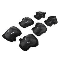 6Pcs Adult Roller Skating Knee Wrist Safety Guard Elbow Pad Protective Set Black