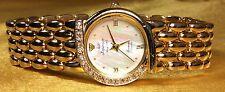 Vintage Jules Jurgensen Genuine Diamond Mother Of Pearl Dial Ladies Quartz Watch