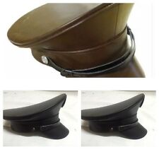 SDL Plain Black Leatheret Look Military Hat Available In 3 Sizes 57,58,59cm