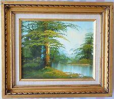VTG Original Oil Painting Canvas Impressionism Landscape Tree Pond Signed Framed
