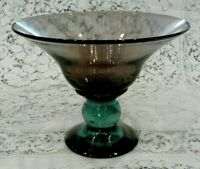 Hand Blown Glass Pedestal Bowl Vase Compote Amethyst and Blue