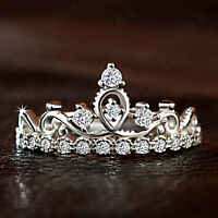 0.25 Ct Round Cut VVS1 Diamond Queen Crown Wedding Ring 14k White Gold Over