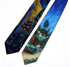 2 Hand Painted Men Silk Neckties Ties SIDEWALK CAFE & HOUSE AT AUVERS Van Gogh