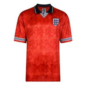 England 1990 World Cup Final Retro Football Shirt Medium Score Draw Red Official