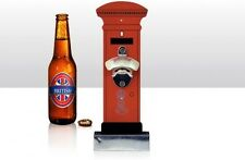 Bottle/Beer Bottle Opener ~ RED POST BOX ~ Wall Mounted with Cap Catcher