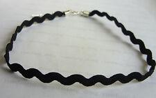 "Black 5mm Flat Wave Zag Zig Aztec Pattern Cord 13"" Tattoo Henna Choker Necklace"