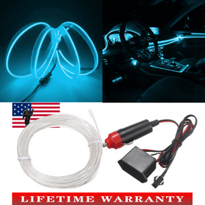 LED Car Interior Decorative Atmosphere Ice Blue Wire Strip Light Lamp Accessorie