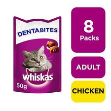 More details for 8 x 50g whiskas dentabites dental cat treats with chicken cat biscuits (400g)