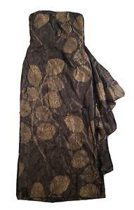 LILLIE RUBIN Vintage 80's Brown Leaf Jacquard Silk Evening Dress 12