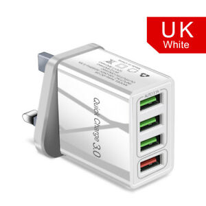 Wall Charger Fast Charge QC3.0 3.1A Multi 4 USB UK Plug Power For Samsung Iphone
