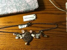 Stephen Dweck Rose Quartz Shell Pearl Moonstone Bronze Necklace New