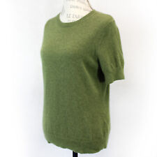 Lands'end 2-Ply 100% Cashmere Knit Short Sleeve Crew Neck Olive Sweater Medium