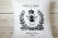 """Chateau Bee - 16"""" white cushion cover French shabby vintage chic UK handmade"""