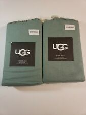 2 UGG Twilight Flannel Standard Pillowcase Pair (4 total pillowcases) Sea Green