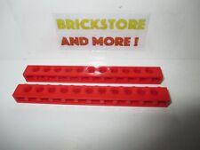 Lego - 2x Technic Brick brique 1x12 12x1 trou holes 3895 red/rouge/rot