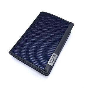 Tumi Alpha SLG Gusseted Card Case Reflective Navy Blue ID Window