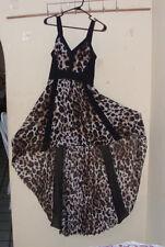 bebe Women's leopard Print sheer maxi hi low Pleated Dress Size 2