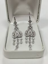 1/3 ctw Genuine Diamonds Chandelier Dangling 1.25 inch Drop Earrings 14k W Gold