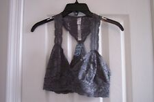 NEW Womens Junior  Intimately free people Junior L Gray Lace Lined Bra