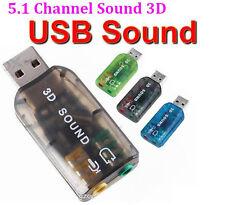 5.1USB a 3.5mm conector para auriculares de micrófono Stereo Headset 3D Tarjeta de Sonido Adaptador De Audio Pc