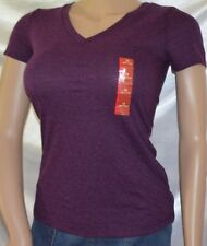 NEW Ladies Mossimo Purple Heather Short Sleeve V-Neck Tee Shirt Knit Top size XS