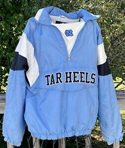 North Carolina Tar Heels Majestic Jacket Coat Large 1/4 Zip Pullover W/ Hood NOS