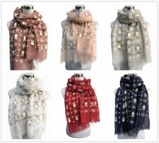 Women Ladies NEW Christmas Festive Scarf Reindeer Print Winter Snowflake Gift