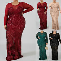 Plus Size Women's Sequins Bodycon Long Dress Sexy Party Evening Mesh Sheer Gown