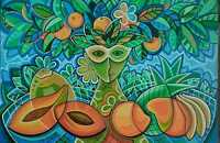 Javier Martinez Lady Fruits Acrylic on Canvas 36X24 Cuban Art
