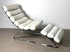 Vtg DIA White Leather Chrome Lounge Chair & Ottoman Baughman Mid Century Modern