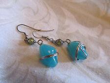 Silver Tone & Blue Glass Drop Earrings - 5cm long