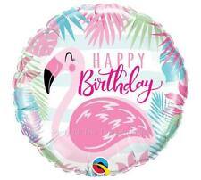 "Set of 2 Pink Flamingo Balloons 18"" Happy Birthday Free Shipping Pool Beach"