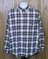 VINTAGE MENS CHAPS FLANNEL SHIRT SIZE L GREY CHECK COTTON WORK LONG SLEEVE TOP