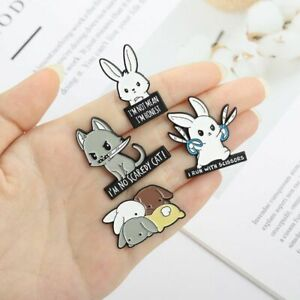 1pc Angry Rabbit Enamel Pins Gray Bunny Lapel Pin Backpack Brooches Badge Jewelr