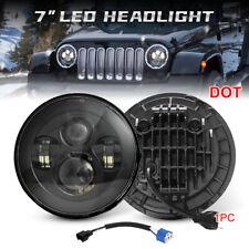 Black 7 Inch Round LED Headlight Hi-Lo Beam For Jeep Wrangler JK TJ LJ CJ 97-18