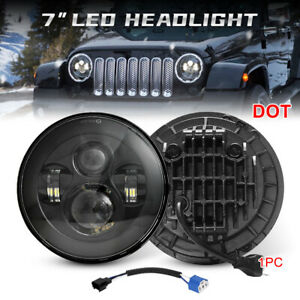 Black 7 Inch Round LED Headlight Hi-Lo Beam For Jeep Wrangler JK TJ LJ CJ 97-18