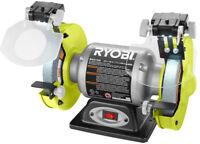 Ryobi Bench Grinder 6 In. 2.1-Amp w/ LED Lights Heavy Gauge Steel Power Tool