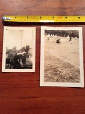 2 Vintage Football Photo Pair lot Leather Helmet and action photos
