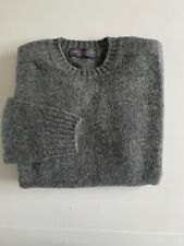 Gents Grey Shetland Pure Wool  Shoulder Crew Neck Sweaters Made in Scotland