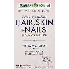 NATURE'S BOUNTY HAIR, SKIN, AND NAILS ARGAN OIL INFUSED 5000 MCG OF BIOTIN, 250