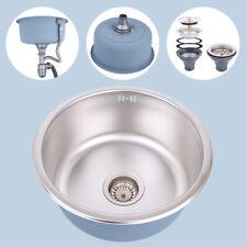 Round Single Bowl Stainless Steel Kitchen/Laundry Sink Undermount/Drop in 410mm