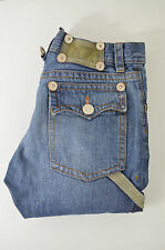 DSQUARED d2 Donna Jeans Denim Knickerbocker Blu oltremare chiaro in pelle rappezzi TG 42/36