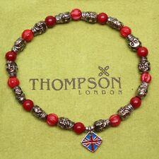 Thompson of London Mens Beaded Bracelet 19cm Red Stones Skulls Stretch NWOT